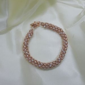 Jewelry - Rose gold and white opal hand beaded bracelet